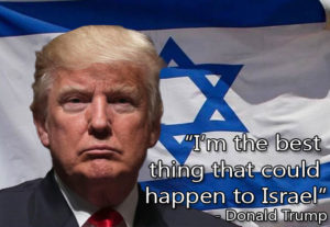 Trump in front of the Israeli flag.