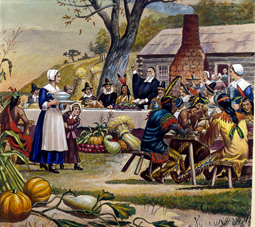 Thanksgiving depicted in a historic painting.