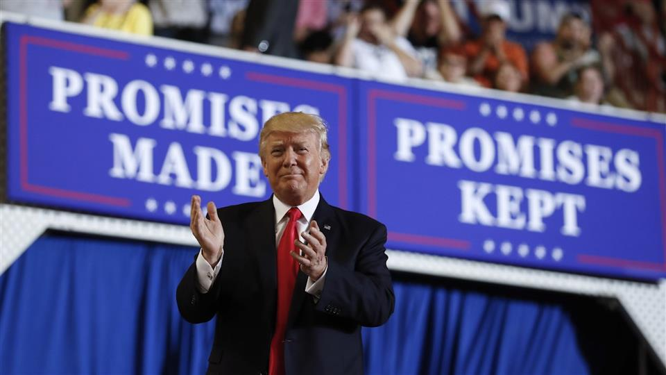 Promises Trump Has Not Kept. Trump at a Rally.