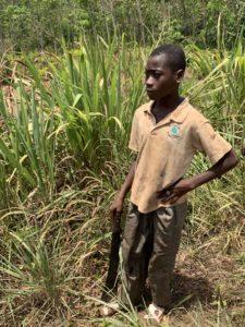 Enslaved Boy with machete on cocoa plantation in Ivory Coast